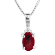 Luis Creations PRL1307RD 0.52 Ct. Diamond And Natural Heated Oval Ruby Pendant In 14K Gold
