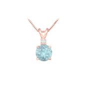 Fine Jewellery Vault UBPDVRD600AQP Diamond and Round Aquamarine Solitaire Pendant 14K Rose Gold 1 CT TGW March Birthstone Gift