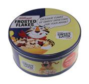 Retro Kellogs Frosted Cornflakes Round Kitchen Cake Biscuit Tin Storage Box Blue
