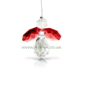 Ruby Red - Coloured Crystal Guardian Angel Bright Red Hanging Ornament