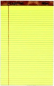 TOPS 7572 The Legal Pad legal rule canary perforated 50 SH per PD 12 PD per PK