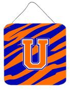 Carolines Treasures CJ1023-UDS66 Letter U Initial Tiger Stripe - Blue Orange Aluminium Metal Wall Or Door Hanging Prints