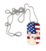 Carolines Treasures SS4228DT USA American Flag with Chihuahua Dog Tag