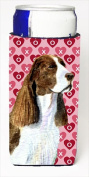 Carolines Treasures SS4513MUK Springer Spaniel Hearts Love Valentines Day Michelob Ultra bottle sleeves For Slim Cans