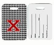 Carolines Treasures CJ1021-X-BT Monogram - Houndstooth Black Initial X Monogram Initial Luggage Tag Pair - 2