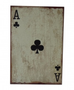 Cheungs Rattan FP-3677B Ace of Clubs Wooden Wall decor - Distressed White Brown Black
