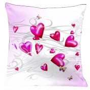 Lama Kasso 165 Butterflies and Hearts Floating Across a Soft White and Baby Pink Background 46cm . x 46cm . Satin Pillow