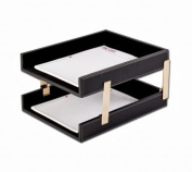 Dacasso a1220 Leather Double Stacking Trays - Rustic Black