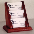 Wooden Mallet BCC1-3MH 3 Pocket Countertop Business Card Holder in Mahogany