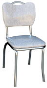 Richardson Seating Corp 4161CIG 4161 Handle Back Diner Chair -Cracked Ice Grey- with 2.5cm . Pulled Seat - Chrome