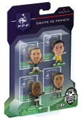 SoccerStarz France International Figurine Blister Pack Featuring Clichy/ Lloris/ Remy and Ribery in France's Home Kit