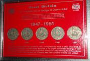 King George VI English England Shillings 1947-1951 Coin Collector Set