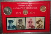 Centennial of the Birth of Sir Winston Churchill 1874-1974 Coin & Stamp Present Display Gift Set