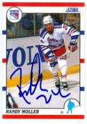 Autograph Warehouse 68649 Randy Moller Autographed Hockey Card New York Rangers 1990 Score No. 45