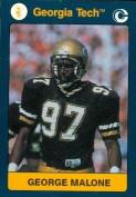 Autograph Warehouse 96655 George Malone Football Card Georgia Tech 1991 Collegiate Collection No. 12