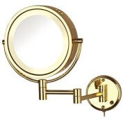 Jerdon Style HL75G 22cm . 8X-1X Halo Lighted Wall Mount Mirror Extends 34cm . Bright Brass
