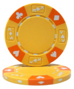 Brybelly Holdings CPAK-YELLOW-25 Roll of 25 - Yellow - Ace King Suited 14 Gramme Poker Chips