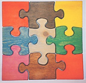 THE PUZZLE-MAN TOYS W-1147 Wooden Educational Jig Saw Puzzle - 28cm . Square