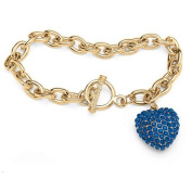 PalmBeach Jewellery 5285409 Crystal Heart Charm Birthstone Toggle Bracelet in Yellow Gold Tone September - Simulated Sapphire