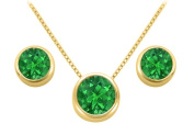 Fine Jewellery Vault UBUPDERV20AGVYRE May Birthstone Emerald Pendant and Stud Earrings Set in 18K Yellow Gold Vermeil