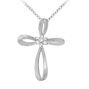 Fine Jewellery Vault UBNPD30340W14CZ April Birthstone Cubic Zirconia Cross Pendant in 14K White Gold