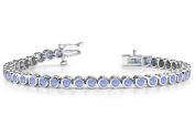 Fine Jewellery Vault UBUBRBK7160W14TZ Classic Bezel Set Created Tanzanite Tennis Bracelet. 32.ct.tw.