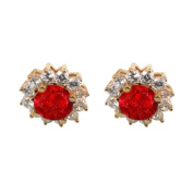 Fine Jewellery Vault UBUER1191Y14CZR Round Ruby and CZ Halo Stud Earrings in 14K Yellow Gold 5 CT TGWJuly Birthday Gift