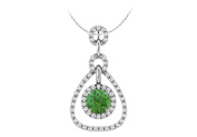 Fine Jewellery Vault UBUPDSRD85435W14CZE May Birthstone Created Emerald and CZ Tear Drop Halo Pendant in 14K White Gold 1.50 CT TGW