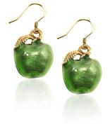 Whimsical Gifts 2051G-Green-ER Green Apple Charm Earrings in Gold