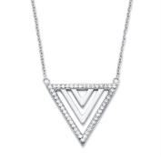 PalmBeach Jewellery 55253 Platinum Over .925 Sterling Silver .23 TCW Cubic Zirconia Triangle Pendant Necklace