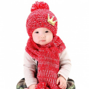 Datework Hat + Scarf ,Cute Baby Kids Girls Boys Warm Woollen Coif Hood Scarf Caps Hats