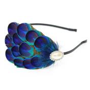 KISSPAT Natural Handmade Peacock Eyes Feather Headband, Premium Quality