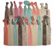 """Hair Ties Ponytail Holders - 20 Pack """"Bridal Shower Sparkle"""" No Crease Ouchless Elastic Styling Accessories Pony Tail Holder Ribbon Bands - By Kenz Laurenz"""