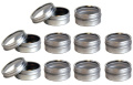 Silver Metal Steel Tin Flat Container with Tight Sealed Clear Lid - .740ml
