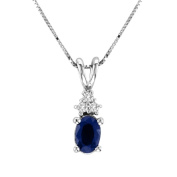 Luis Creations PRL1302SD 0.44 Ct. Diamond And Oval Sapphire Pendant In 14K Gold