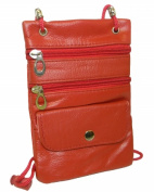 Leather In Chicago 9027c-RED Neck ID Passport Holder Red
