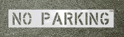 CH Hanson 69999 No Parking 10cm X 7.6cm . Centre Justified Stencil