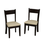 Childrens Espresso Chair Set With Upholstered Seat