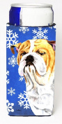 Carolines Treasures SC9374MUK Bulldog English Winter Snowflakes Holiday Michelob Ultra bottle sleeves For Slim Cans - 350ml