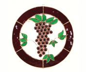 Gift Essentials GE130 Small Grapes N Vines Circle Window Panel