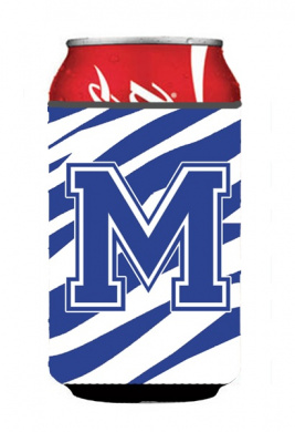Carolines Treasures CJ1034-MCC Letter M Initial Monogram - Tiger Stripe Blue And White Can Or Bottle Hugger
