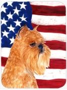 Carolines Treasures SS4020LCB USA American Flag With Brussels Griffon Glass Cutting Board - Large