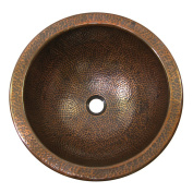 The Copper Factory Solid Hand Hammered Copper Medium Round Self Rimming Lavatory Sink in Antique Copper Finish - CF149AN