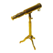 EcWorld Enterprises 8848542 Reproduction Miniature Antique Replica Brass Telescope - Gold