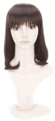 Simpleyourstyle Dark Brown Natural Black Anime Cosplay Wigs Pear Head Long Synthetic Full Heat Resistant Bang Wigs for Women