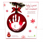 Pearhead Tiny Ideas Baby's Print Ball Ornament Red Gold Marker