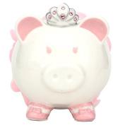 . Pink Colour with Crown Princess Porcelain Piggy Bank for Kids