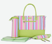 Skinly 3Pcs Baby Nappy Shoulder Bag with Vertical Stripe Size M Green