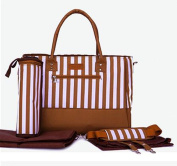 Skinly 3Pcs Baby Nappy Shoulder Bag with Vertical Stripe Size M Brown