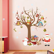 ElecMotive® Merry Christmas Santa Claus Owls Christmas Tree Gifts Wall Decals, Living Room Bedroom Shop Window Removable Wall Stickers Murals Removable DIY Home Decorations Art Decor